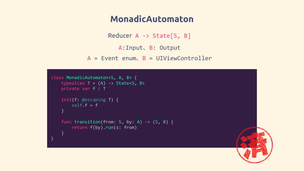 MonadicAutomaton class MonadicAutomaton<S, A, B...