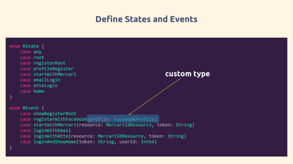 Define States and Events enum RState { case any...