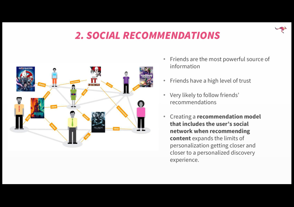 2. SOCIAL RECOMMENDATIONS • Friends are the mos...