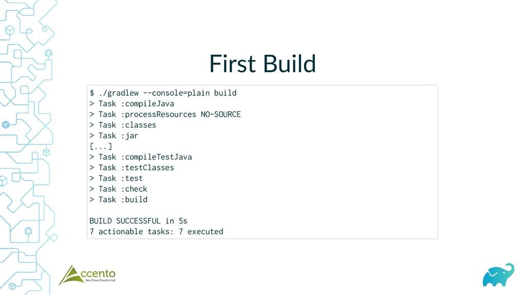 First Build $ ./gradlew --console=plain build >...