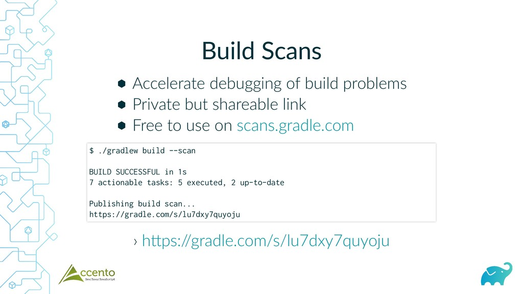 Build Scans ⬢ ⬢ ⬢ Accelerate debugging of build...
