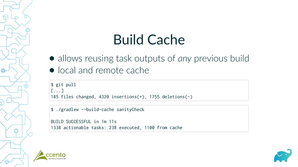 Build Cache ⬢ ⬢ allows reusing task outputs of ...