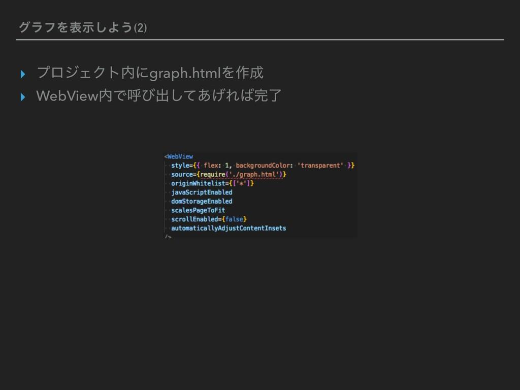 άϥϑΛදࣔ͠Α͏(2) ▸ ϓϩδΣΫτʹgraph.htmlΛ࡞ ▸ WebView...