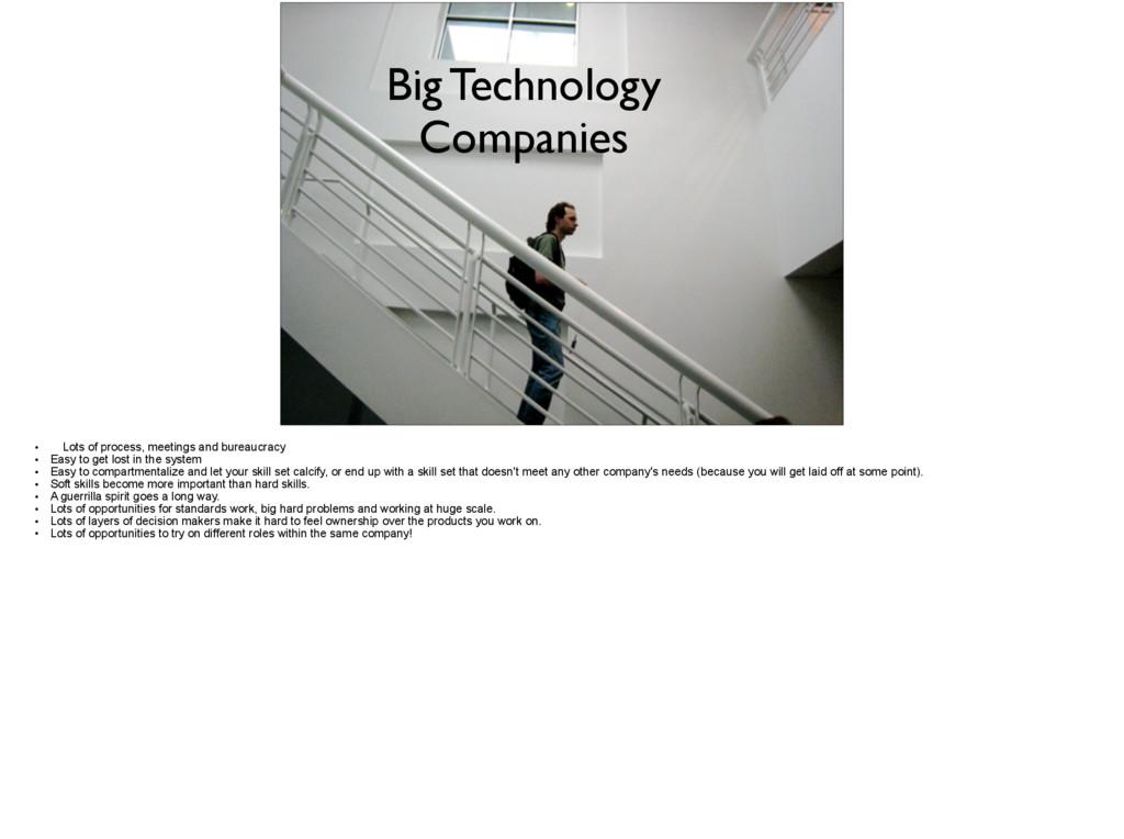 Big Technology Companies • Lots of process, mee...