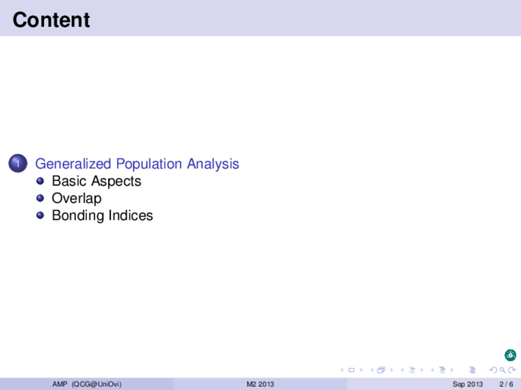 Content 1 Generalized Population Analysis Basic...