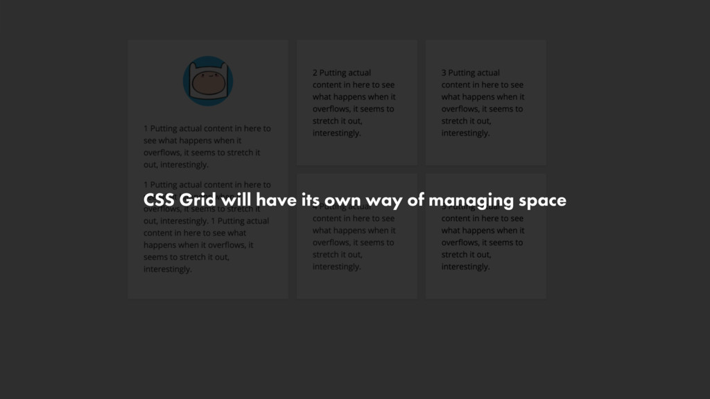 CSS Grid will have its own way of managing space
