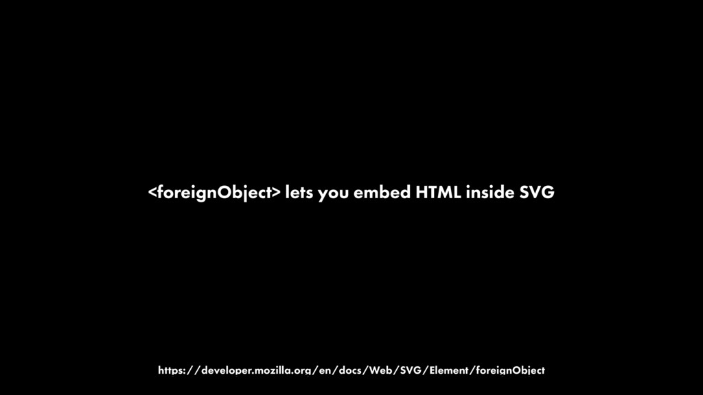 <foreignObject> lets you embed HTML inside SVG ...