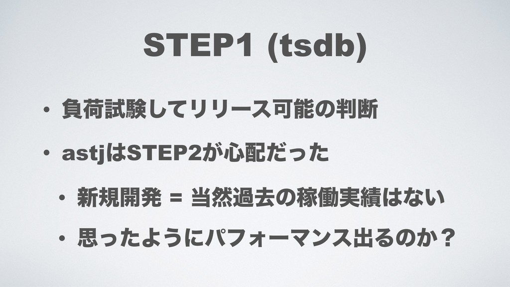 STEP1 (tsdb) • ෛՙࢼݧͯ͠ϦϦʔεՄͷஅ • astjSTEP2͕৺ͩ...