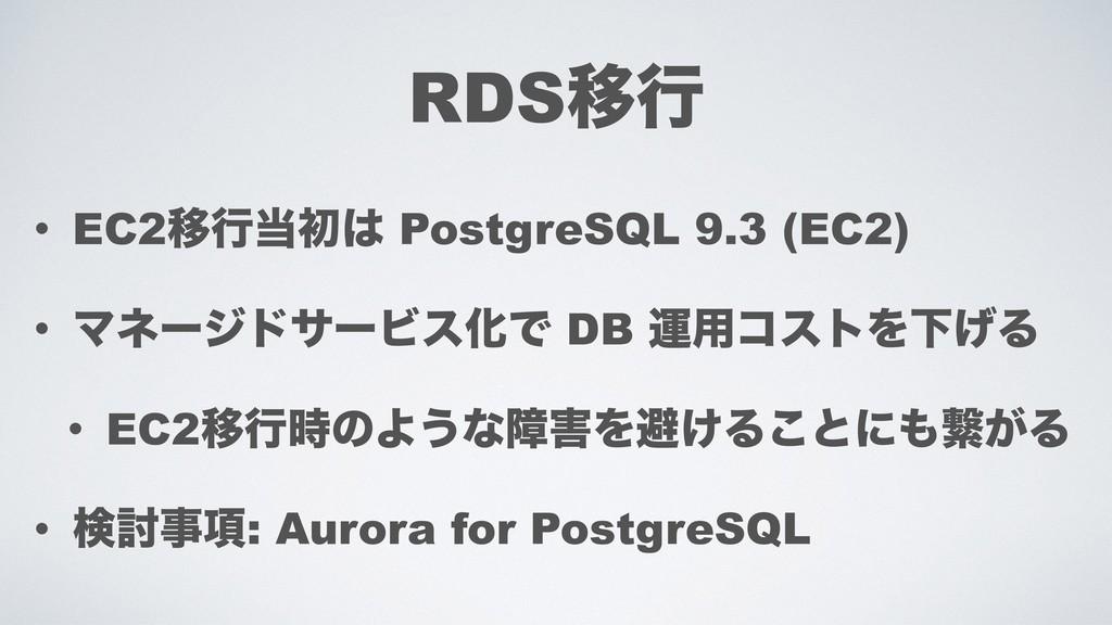 RDSҠߦ • EC2Ҡߦॳ PostgreSQL 9.3 (EC2) • Ϛωʔδυαʔ...
