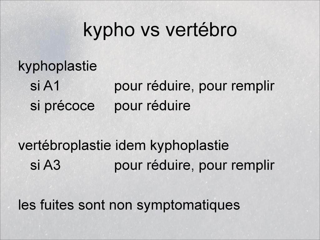 kypho vs vertébro kyphoplastie si A1 pour rédui...