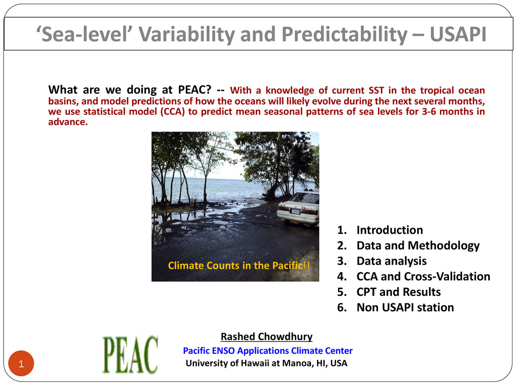 1 Climate Counts in the Pacific!! 'Sea-level' V...