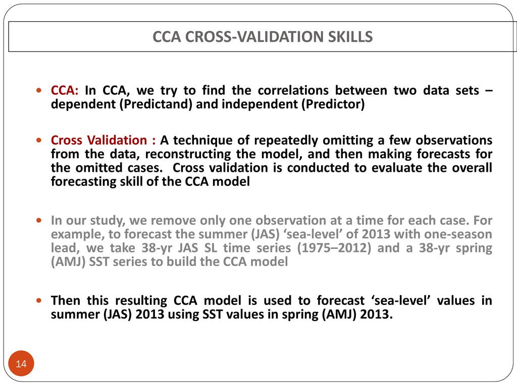 CCA CROSS-VALIDATION SKILLS 14  CCA: In CCA, w...