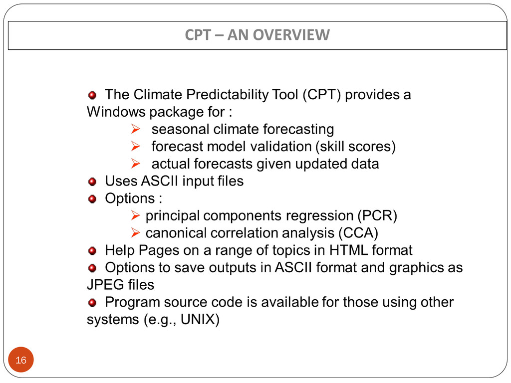 16 CPT – AN OVERVIEW