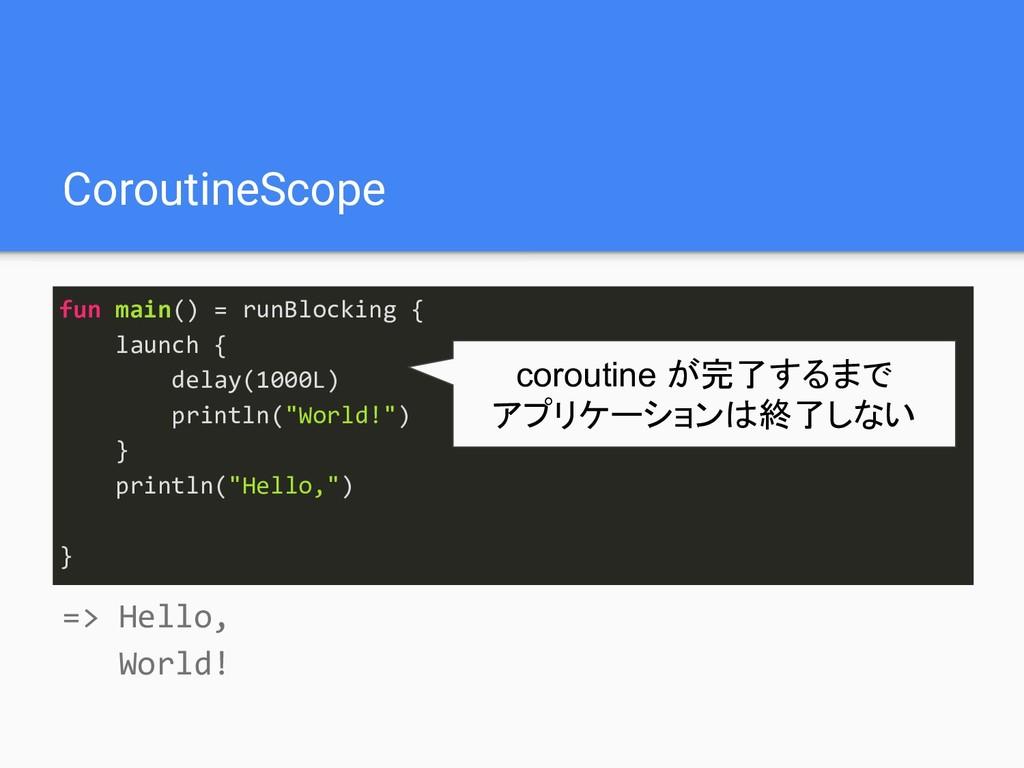CoroutineScope fun main() = runBlocking { launc...