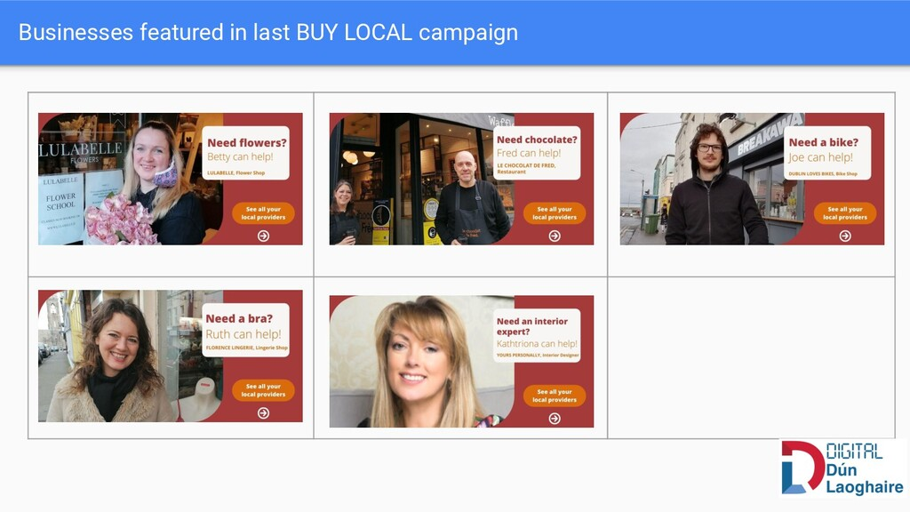 Businesses featured in last BUY LOCAL campaign