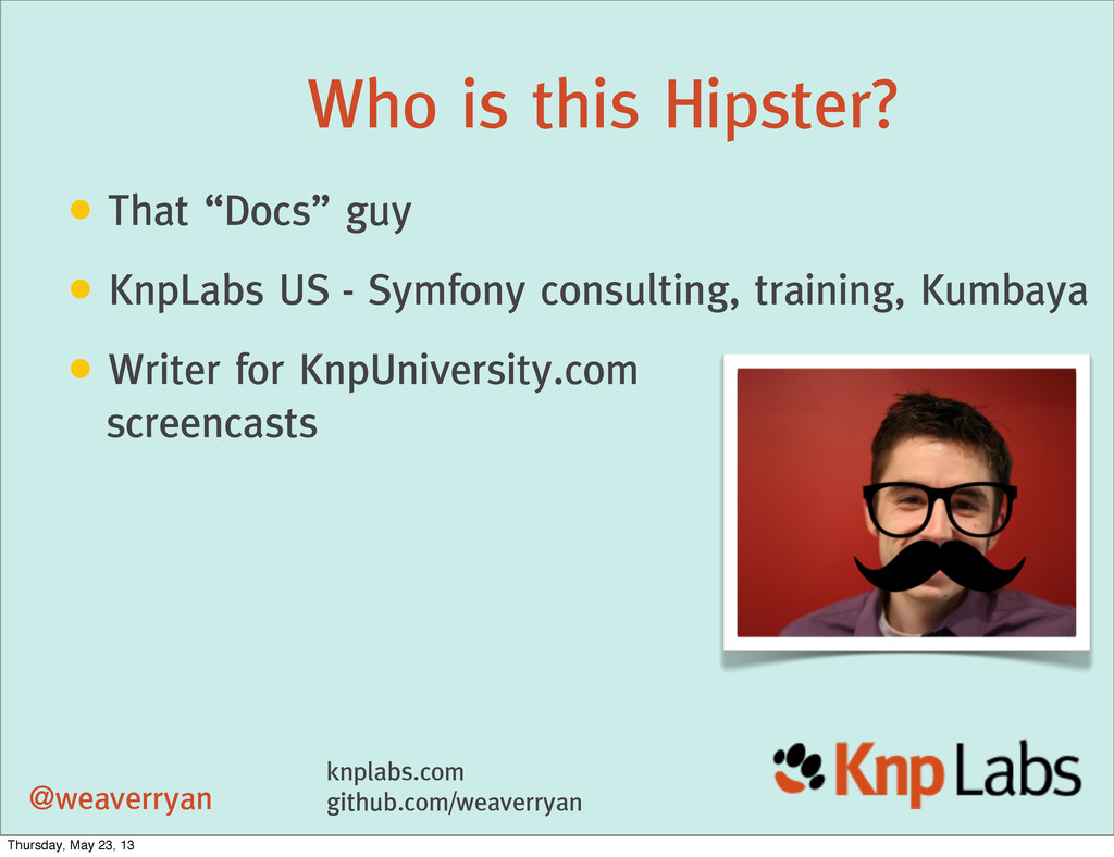 """Who is this Hipster? • That """"Docs"""" guy • KnpLab..."""