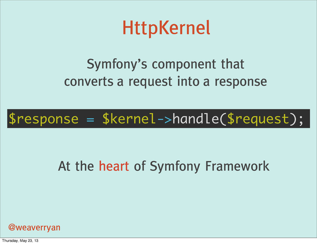 HttpKernel @weaverryan Symfony's component that...