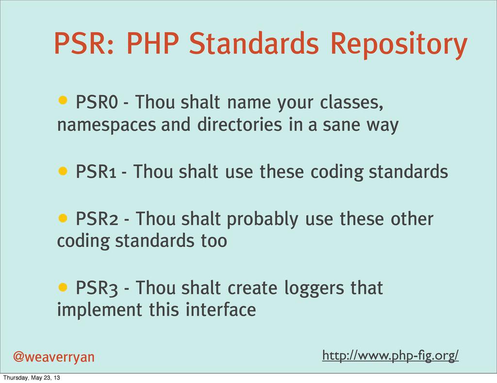 PSR: PHP Standards Repository @weaverryan • PSR...