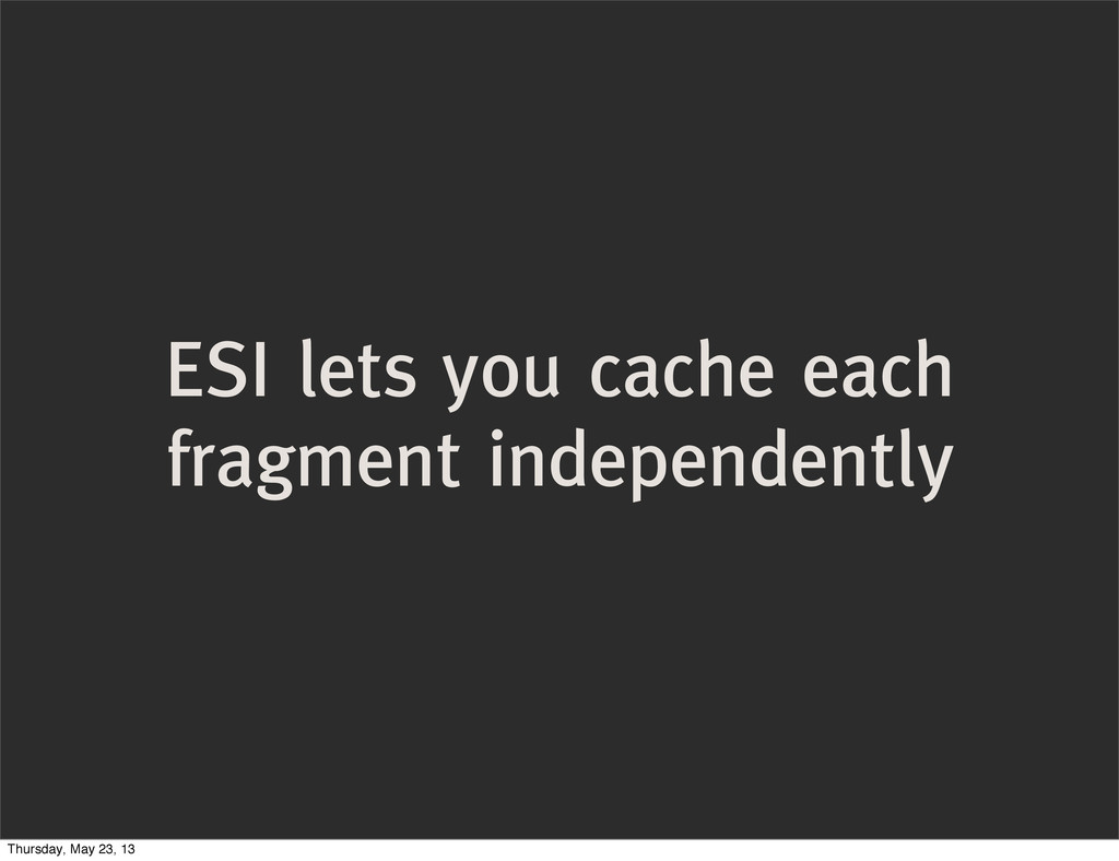 ESI lets you cache each fragment independently ...