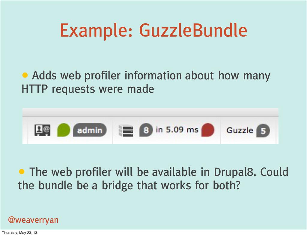 Example: GuzzleBundle @weaverryan • Adds web pr...