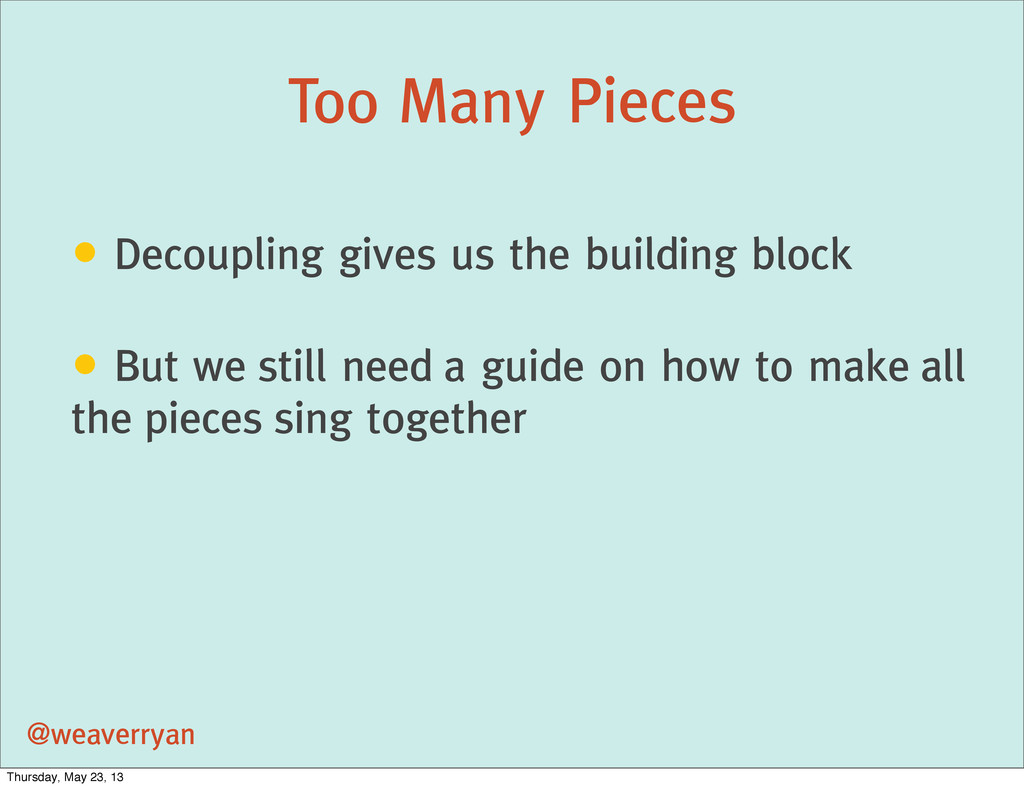 Too Many Pieces @weaverryan • Decoupling gives ...