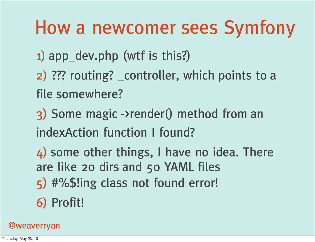 How a newcomer sees Symfony @weaverryan 1) app_...