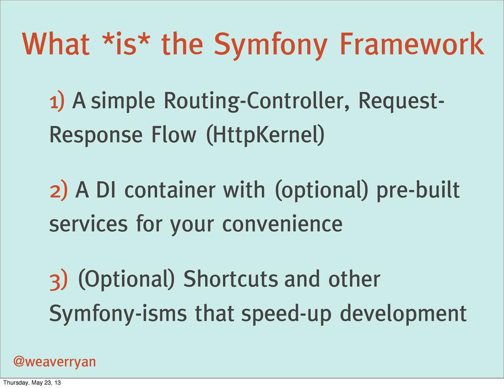 What *is* the Symfony Framework @weaverryan 1) ...