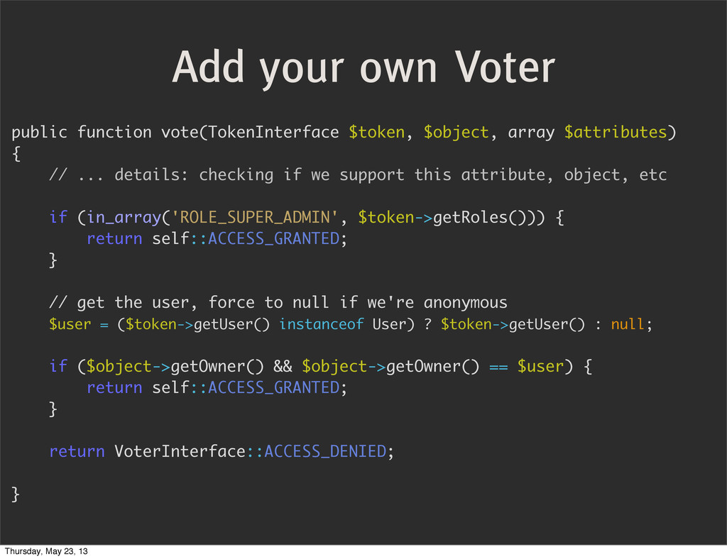 Add your own Voter public function vote(TokenIn...