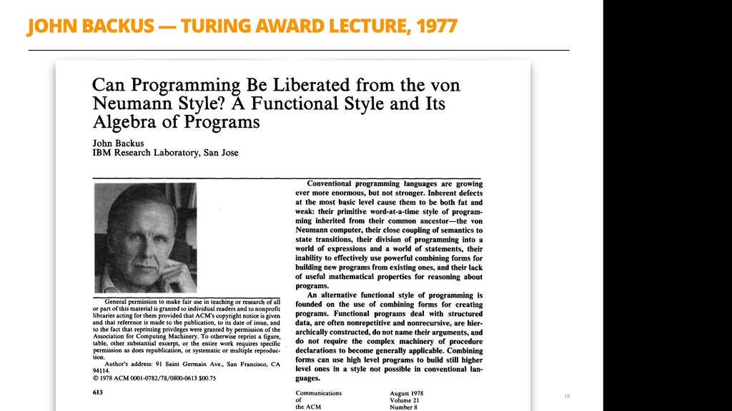 JOHN BACKUS — TURING AWARD LECTURE, 1977 18