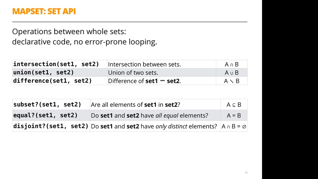 MAPSET: SET API Operations between whole sets:...