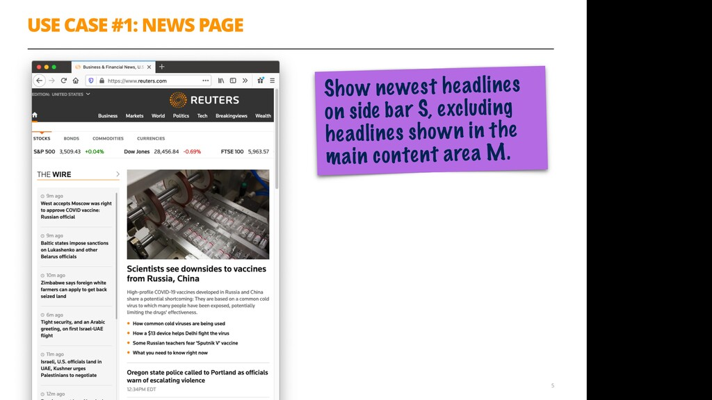 USE CASE #1: NEWS PAGE 5 Show newest headlines ...