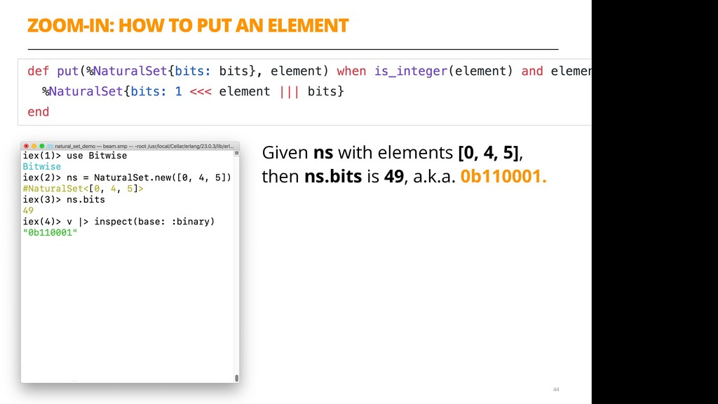 ZOOM-IN: HOW TO PUT AN ELEMENT 44 Given ns with...