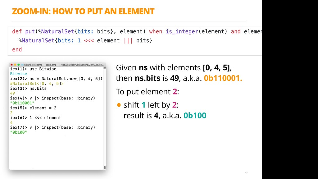 ZOOM-IN: HOW TO PUT AN ELEMENT 45 Given ns with...