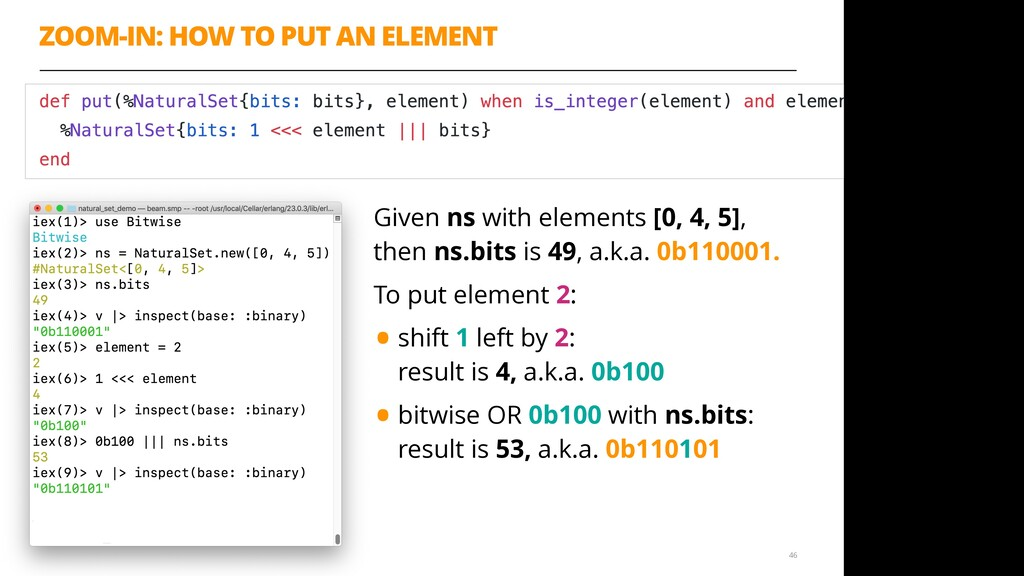 ZOOM-IN: HOW TO PUT AN ELEMENT 46 Given ns with...