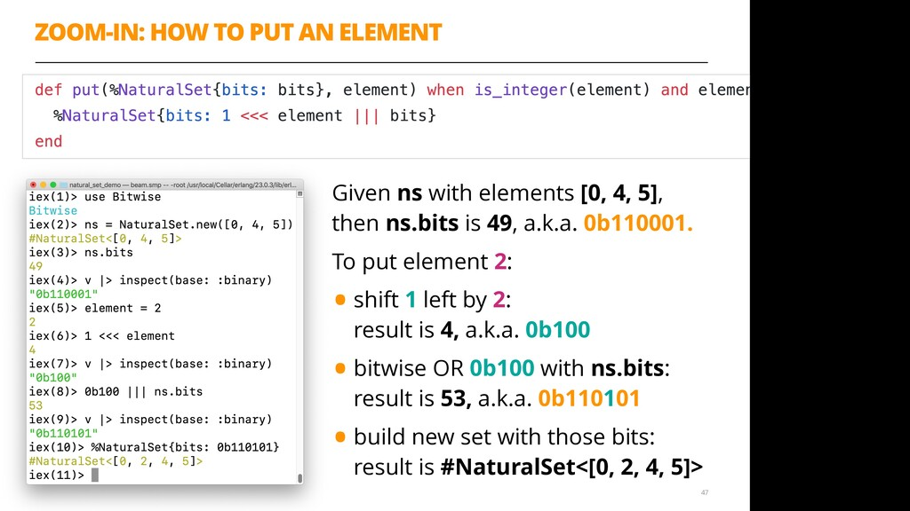 ZOOM-IN: HOW TO PUT AN ELEMENT 47 Given ns with...