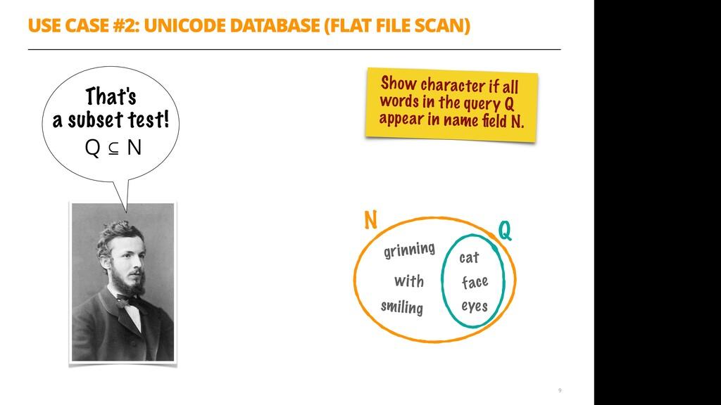 Q USE CASE #2: UNICODE DATABASE (FLAT FILE SCAN...