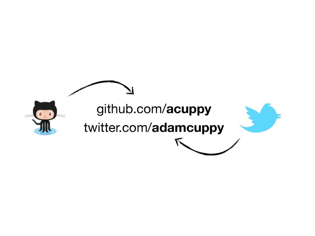 github.com/acuppy twitter.com/adamcuppy