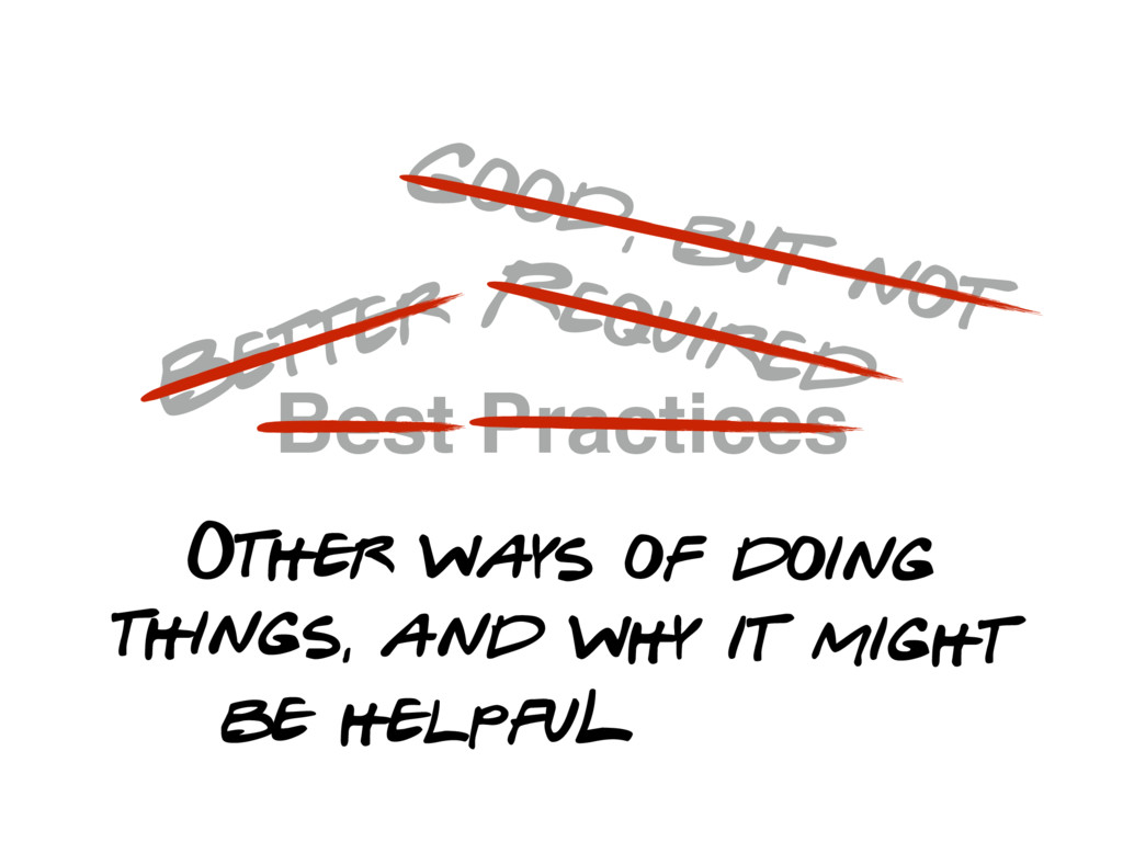 Best Practices Better Good, but not Required Ot...