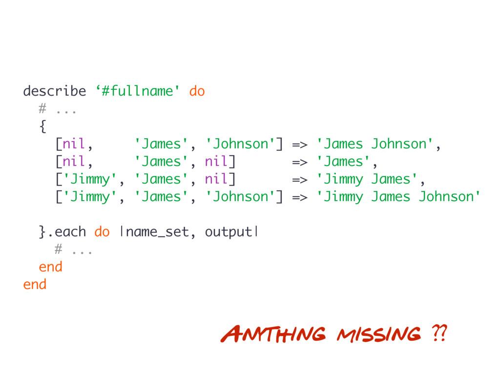 describe '#fullname' do # ... { [nil, 'James', ...