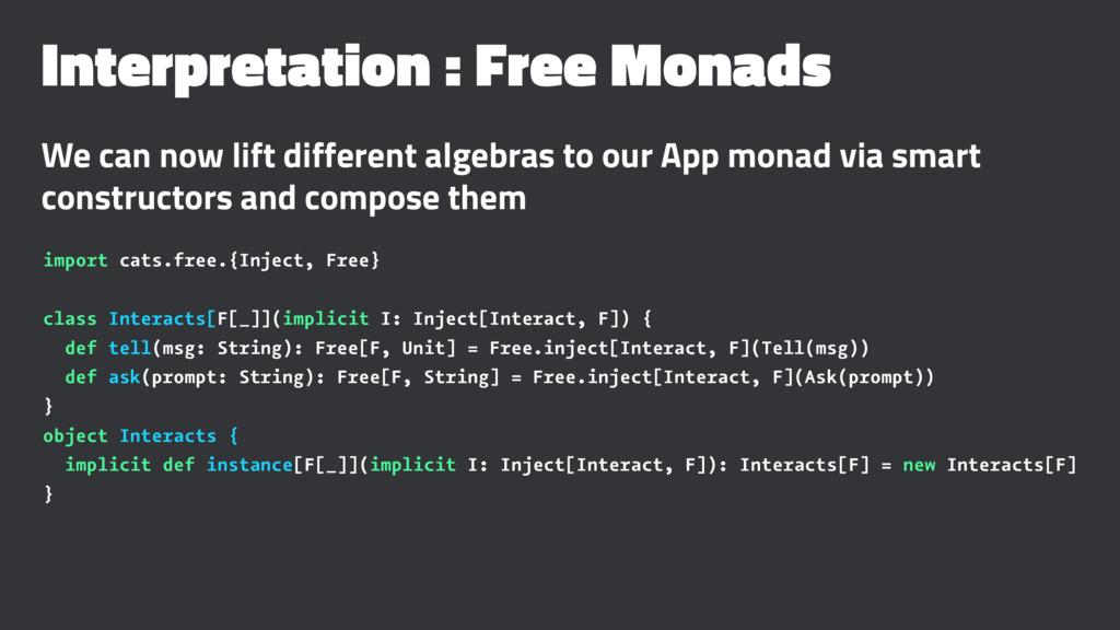 Interpretation : Free Monads We can now lift di...