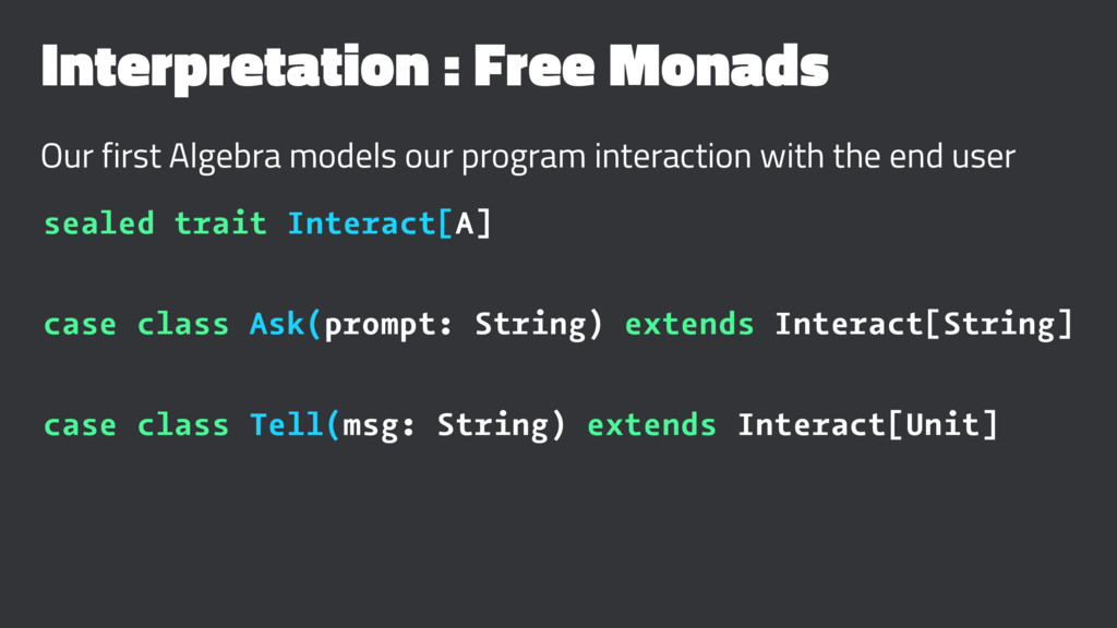 Interpretation : Free Monads Our first Algebra ...