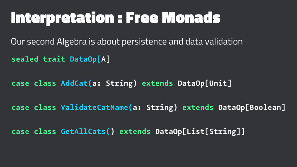 Interpretation : Free Monads Our second Algebra...