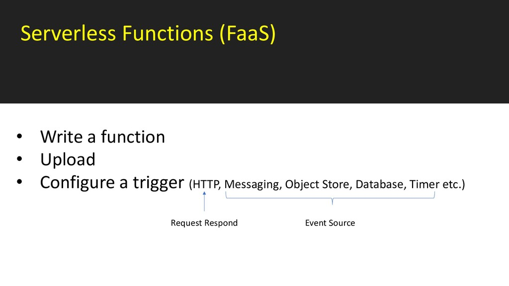 Serverless Functions (FaaS) • Write a function ...