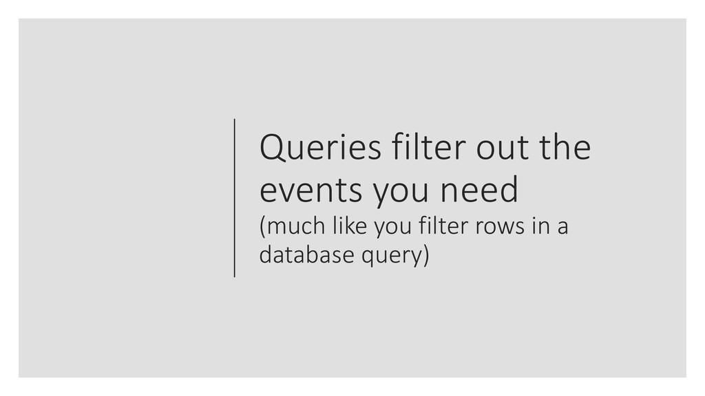 Queries filter out the events you need (much li...