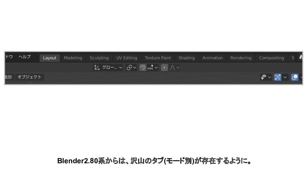 Blender2.80系からは、沢山のタブ(モード別)が存在するように。