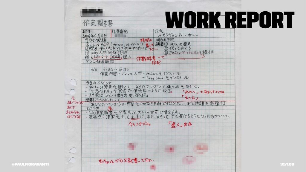 Work Report @paulfioravanti 31/108