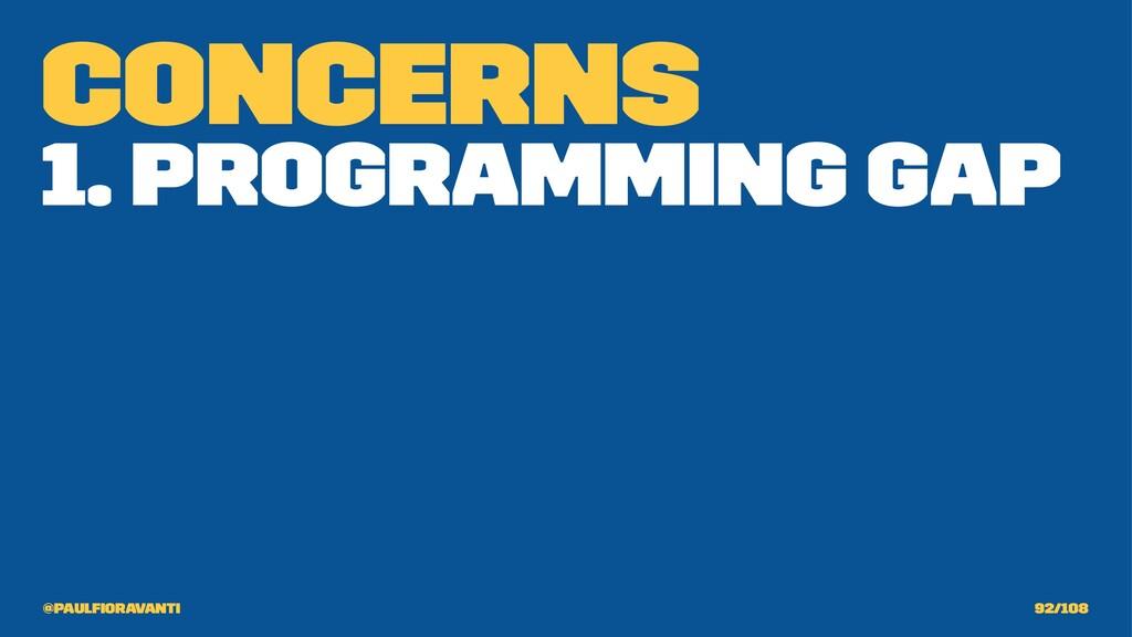 Concerns 1. Programming Gap @paulfioravanti 92/1...