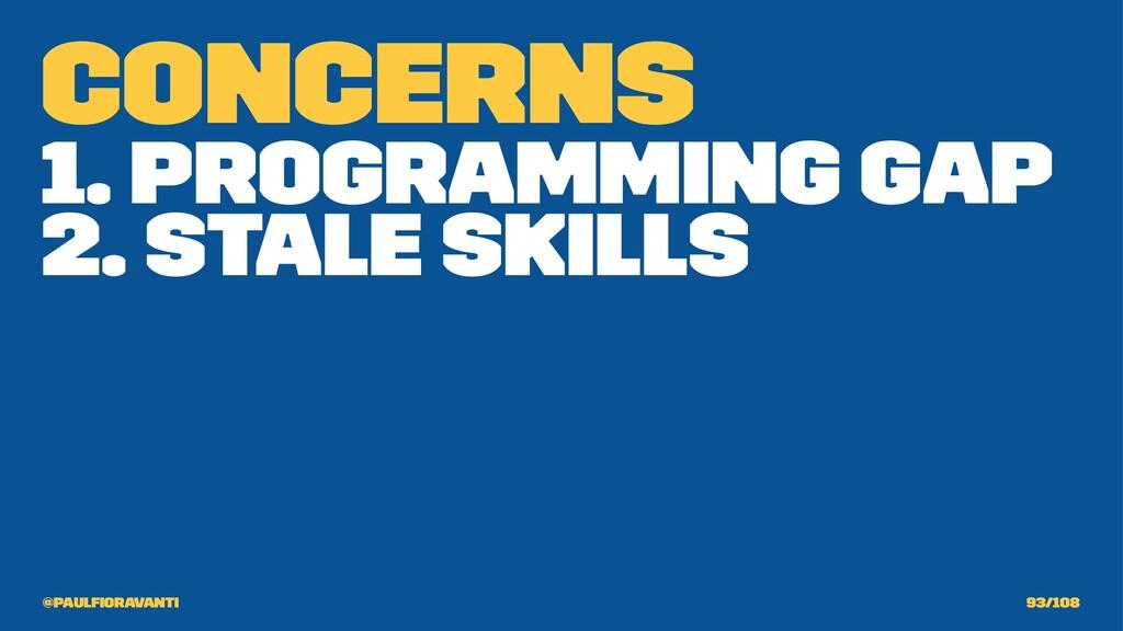 Concerns 1. Programming Gap 2. Stale Skills @pa...