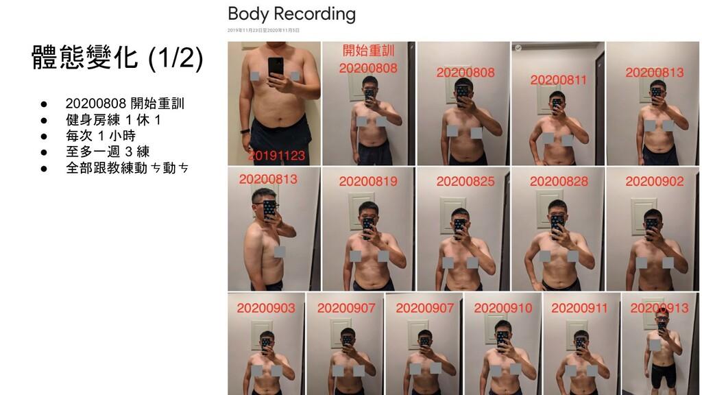 體態變化 (1/2) ● 20200808 開始重訓 ● 健身房練 1 休 1 ● 每次 1 ...
