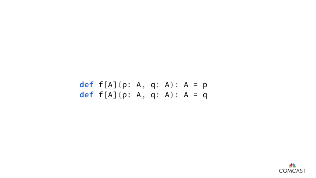 def f[A](p: A, q: A): A = p def f[A](p: A, q: A...